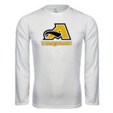 Performance White Longsleeve Shirt-A w/ Trojans