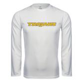 Performance White Longsleeve Shirt-Trojans