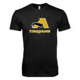Next Level SoftStyle Black T Shirt-A w/ Trojans