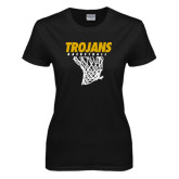 Ladies Black T Shirt-Basketball Hanging Net