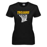 Ladies Black T Shirt-Basketball Hanging Net