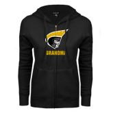 ENZA Ladies Black Fleece Full Zip Hoodie-Grandma