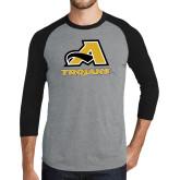 Grey/Black Tri Blend Baseball Raglan-A w/ Trojans