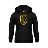 Youth Black Fleece Hoodie-Soccer Shield