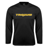 Performance Black Longsleeve Shirt-Trojans