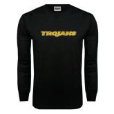 Black Long Sleeve TShirt-Trojans Distressed