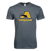 Next Level SoftStyle Charcoal T Shirt-A w/ Trojans