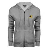 ENZA Ladies Grey Fleece Full Zip Hoodie-A w/ Trojans