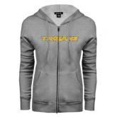 ENZA Ladies Grey Fleece Full Zip Hoodie-Trojans
