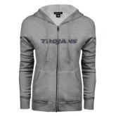 ENZA Ladies Grey Fleece Full Zip Hoodie-Trojans Graphite Soft Glitter