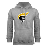 Grey Fleece Hoodie-Trojan Head