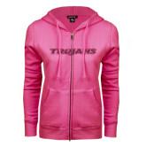 ENZA Ladies Fuchsia Fleece Full Zip Hoodie-Trojans Hot Pink Glitter