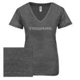 ENZA Ladies Graphite Melange V Neck Tee-Trojans Graphite Soft Glitter