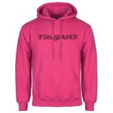 Fuchsia Fleece Hoodie-Trojans Hot Pink Glitter