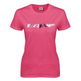Ladies Fuchsia T Shirt-Trojans Foil