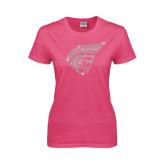 Ladies Fuchsia T Shirt-Trojan Head Rhinestone