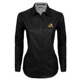 Ladies Black Twill Button Down Long Sleeve-A w/ Trojans