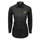Ladies Black Tonal Pattern Long Sleeve Shirt-A w/ Trojans