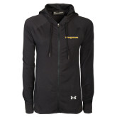 Ladies Under Armour Black Varsity Full Zip Hoodie-Trojans