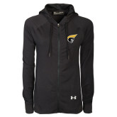 Ladies Under Armour Black Varsity Full Zip Hoodie-Trojan Head