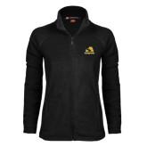 Ladies Fleece Full Zip Black Jacket-A w/ Trojans