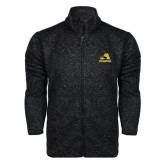 Black Heather Fleece Jacket-A w/ Trojans