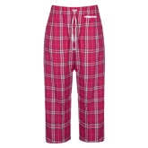 Ladies Dark Fuchsia/White Flannel Pajama Pant-Trojans