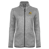 Grey Heather Ladies Fleece Jacket-A w/ Trojans