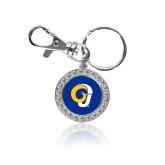 Crystal Studded Round Key Chain-Ram Logo