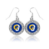 Crystal Studded Round Pendant Silver Dangle Earrings-Ram Logo