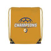 Gold Drawstring Backpack-Womens Soccer Champions