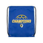 Royal Drawstring Backpack-Womens Soccer Champions