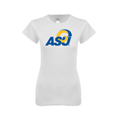 Next Level Ladies SoftStyle Junior Fitted White Tee-ASU