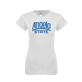 Next Level Ladies SoftStyle Junior Fitted White Tee-Angelo State