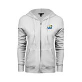 ENZA Ladies White Fleece Full Zip Hoodie-ASU