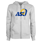 ENZA Ladies White Fleece Full Zip Hoodie-ASU Logo