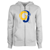 ENZA Ladies White Fleece Full Zip Hoodie-Ram Logo