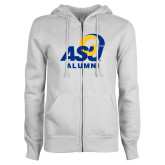 ENZA Ladies White Fleece Full Zip Hoodie-ASU Alumni