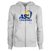 ENZA Ladies White Fleece Full Zip Hoodie-ASU Grandma