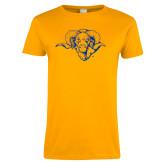 Ladies Gold T Shirt-Ram Head