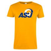 Ladies Gold T Shirt-Distressed Logo