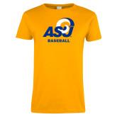 Ladies Gold T Shirt-ASU Baseball