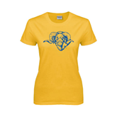 Ladies Gold T Shirt-Roscoe Ram