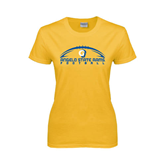 Ladies Gold T Shirt-Arched Football Design