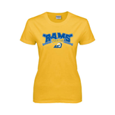 Ladies Gold T Shirt-Baseball Crossed Bats Design