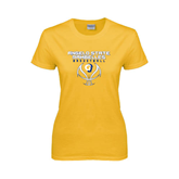 Ladies Gold T Shirt-Basketball Stacked Design