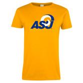 Ladies Gold T Shirt-ASU Logo