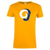 Ladies Gold T Shirt-Ram Logo