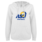 ENZA Ladies White V Notch Raw Edge Fleece Hoodie-ASU Football