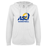 ENZA Ladies White V Notch Raw Edge Fleece Hoodie-ASU Basketball